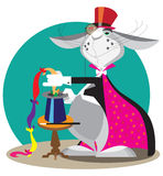 Rabbit in circus acts illusionist. Rabbit in the cylinder is a magician Royalty Free Stock Photography