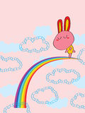 Rabbit Cloud Dancing on Rainbow Royalty Free Stock Images