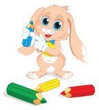 Rabbit with colored pencils Royalty Free Stock Images