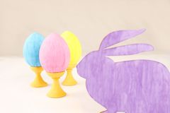 Rabbit with colorful easter eggs Royalty Free Stock Photo