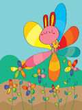 Rabbit On Colorful Flower Royalty Free Stock Images