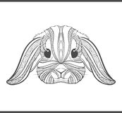 Rabbit coloring outlines in boho style. Ethnic hare Royalty Free Stock Image