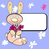 Rabbit with copy space. On blue floral background vector illustration