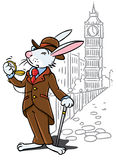 Rabbit in the costume of a gentleman near Big Ben Stock Photos