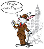 Rabbit in the costume of a gentleman near Big Ben. Kids vector illustration of funny rabbit in glasses, jacket, hat and pants with watch and walking cane. On royalty free illustration