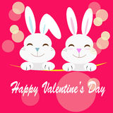 Rabbit couple with love message Stock Photos