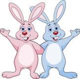 Rabbit couple waving hand. Illustration of rabbit couple waving hands vector illustration