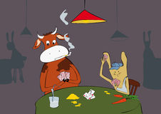 Rabbit and cow are playing cards. Royalty Free Stock Image
