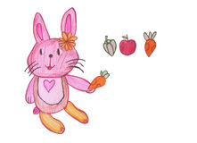 Rabbit with crayon drawings,This is a children artwork. Royalty Free Stock Photos