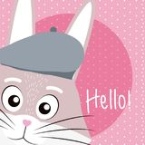 Rabbit Cute animal cartoon. Rabbit cute cartoon on white and pink colors with floral background vector illustration Stock Photo