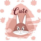 Rabbit cute animal cartoon. Rabbit cute cartoon on white and pink colors with floral background vector illustration Royalty Free Stock Images