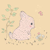 Rabbit. Cute hand drawn illustration of baby card. suitable for printing on a t-shirt or sweatshirt, shirt design, print rabbit, sketch, Childrens fashion shirt Stock Photos