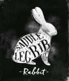 Rabbit cutting scheme chalk Stock Photography
