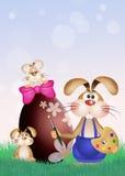 Rabbit decorates Easter egg Royalty Free Stock Image