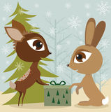 Rabbit and the deer Stock Photography