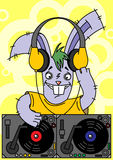 Rabbit DJ. Plays music on vinyl Royalty Free Stock Images