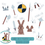 Rabbit do it yourself template with weapons. Vector Do it yourself set with rabbit and weapons. Make your own cartoon flat illustration of funny warrior Royalty Free Stock Photos