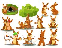 Rabbit doing different activities isolated on a white background. Rabbit doing different activities like running, resting, sleeping, painting, playing drums Stock Photo
