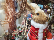 Rabbit doll Christmas cute toy decoration element Stock Image