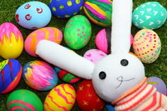 Rabbit doll and easter egg Stock Photos