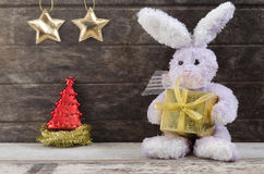 Rabbit doll holding present box Stock Photos