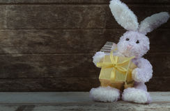 Rabbit doll holding present box Stock Photography