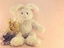 Rabbit doll on pink polka dot background with vintage filter color Royalty Free Stock Image