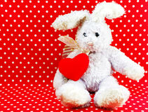 Rabbit doll with red heart on red polka dot background Royalty Free Stock Images