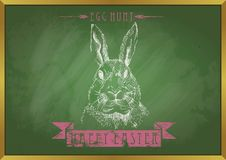 Rabbit with doodle chalk happy easter on blackboard. Vector art illustration, background or print Stock Photo