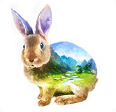 Rabbit double exposure illustration. The rabbit on white background double exposure illustration. Retro design graphic element. This is illustration ideal for a Stock Photography