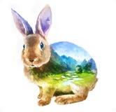 Rabbit double exposure illustration Stock Photography