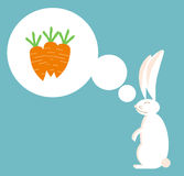 Rabbit dreams of carrot Royalty Free Stock Image