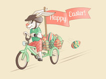 Rabbit-driver of Easter eggs. Vector illustration Royalty Free Stock Photo