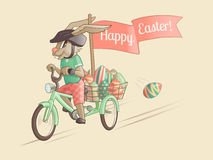 Rabbit-driver of Easter eggs. Vector illustration Royalty Free Stock Images