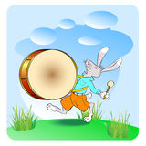 Rabbit drummer 02 Royalty Free Stock Images