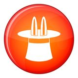 Rabbit ears appearing from a top magic hat icon Royalty Free Stock Images
