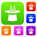 Rabbit ears appearing from a top magic hat set collection. Rabbit ears appearing from a top magic hat set icon in different colors isolated vector illustration Royalty Free Stock Photos