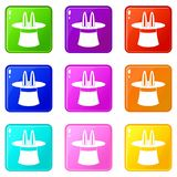 Rabbit ears appearing from a top magic hat set 9. Rabbit ears appearing from a top magic hat icons of 9 color set isolated vector illustration Royalty Free Stock Photo