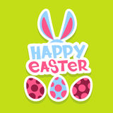 Rabbit Ears Bunny Painted Eggs Happy Easter Holiday Banner Colorful Greeting Card Stock Photos