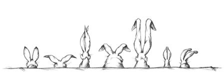 Rabbit ears in different shapes and sizes. Illustration of rabbit ears in different shapes and sizes Royalty Free Stock Images