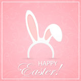 Rabbit ears on pink Easter background Royalty Free Stock Photos