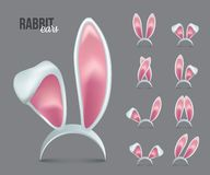 Rabbit ears realistic 3d vector illustrations set. Easter bunny ears kid headband, mask collection. Hare costume pink cartoon element. Photo editor, booth vector illustration