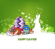 Rabbit Easter background and egg in grass Stock Images