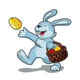 Rabbit with Easter basket. Vector illustration royalty free illustration