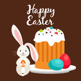 Rabbit and Easter cake greeting card. Happy easter greeting card template with rabbit and Easter cake. Vector illustration Stock Photo