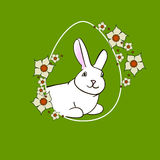 0316_62 rabbit easter. Colorful Happy Easter greeting card with rabbit, bunny, eggs and banners and lent lily white Stock Illustration