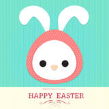 Rabbit easter. Cute rabbit wear polka dot wrap as egg with text  happy easter Royalty Free Stock Image