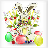 Rabbit with easter egg. And forest flowers Royalty Free Stock Photography