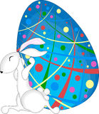 Rabbit and Easter Egg. Rabbit holding back chaoticly decorated easter egg vector illustration