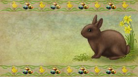 Rabbit. Easter rabbit Egg flower background Stock Images